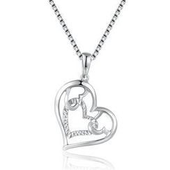 MaBelle - 14K/585 White Gold Diamond Cut Heart Necklace