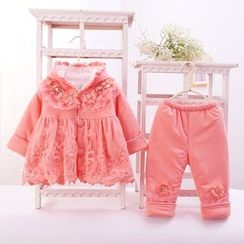 Youtale - Kids Set: Lace Panel Hooded Jacket + Pants