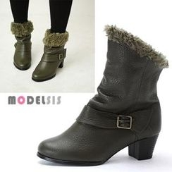 MODELSIS - Genuine Leather Faux-Fur Trim Ankle Boots