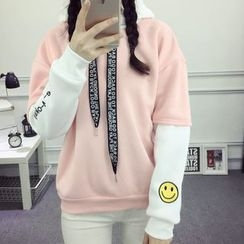 Emeline - Smiley Embroidered Two-Tone Hoodie