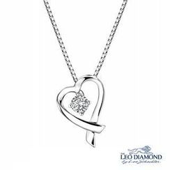 Leo Diamond - Verse of Precious Heart Collection - 18K White Gold Ribbon Heart-Shaped Diamond Solitaire Pendant Necklace (16')