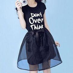 Ashlee - Set: Letter Short-Sleeve T-shirt Dress + Mesh Skirt