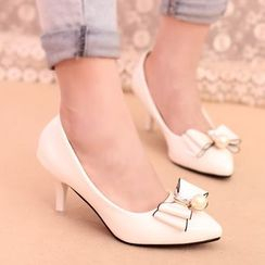 IYATO - Bow Patent Kitten Heels Pumps