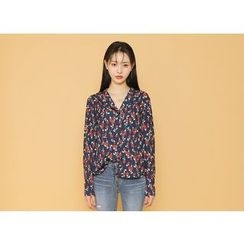 Envy Look - Lapel-Collar Floral Blouse