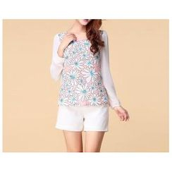 Strawberry Flower - Long Sleeved Floral Print Chiffon Top