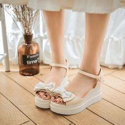 Pastel Pairs - 蝴蝶結厚底涼鞋