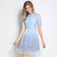 Diosa - Short-Sleeve Lace Panel Dress