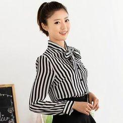 59 Seconds - Striped Chiffon Shirt