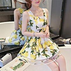 GRACI - Floral Print A-line Strap Dress