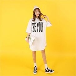 clicknme - Lettering Mélange Cotton T-Shirt Dress