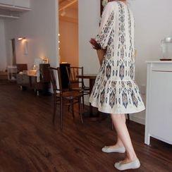 LEELIN - 3/4-Sleeve Ruffle-Hem Patterned Dress