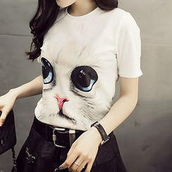 Kissu - Cat Print Short-Sleeve T-shirt