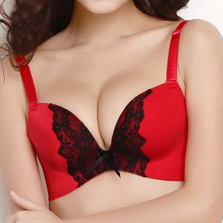 Buy Melanie Embroidered / Plain Push Up Bra | YesStyle