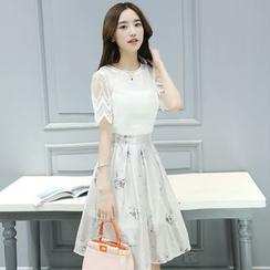 Ashlee - 套裝: 歐根紗拼接中袖雪紡上衣 + 裙