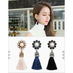 soo n soo - Flower Tassel Earrings