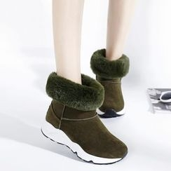 Pangmama - Faux-Fur Panel Boots