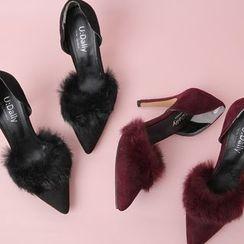 Cherryville - Faux-Fur Faux-Suede Stilettos