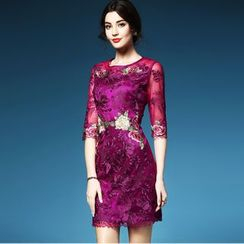 Elabo - Floral Embroidered 3/4 Sleeve Sheath Dress