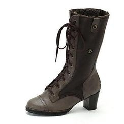 MODELSIS - Lace-Up Genuine Leather Knee Boots