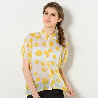 59 Seconds - Dolman Sleeve Sheer Polka Dot Blouse