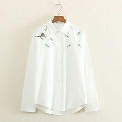 Mushi - Long-Sleeve Embroidered Shirt
