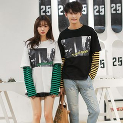 Je T'aime - Couple Matching Mock Two Piece Long-Sleeve T-Shirt