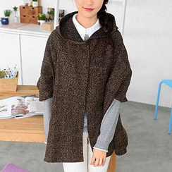 59 Seconds - Hooded Tweed Poncho