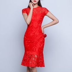Luxury Style - Cap Sleeve Sheath Lace Cocktail Dress