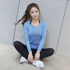Lissom - Set: Long-Sleeve Top + Inset Shorts Running Leggings