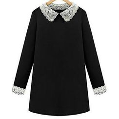 Eloqueen - Long-Sleeve Lace Trim Dress