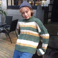Dute - Striped Mock Neck Sweater