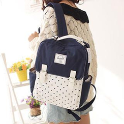 Canvas Love - Buckled Flap Dotted Canvas Backpack