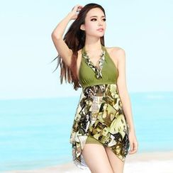 Rachel Swimwear - Printed Halter Swimdress