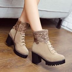 Pangmama - Lace-Panel Ankle Boots