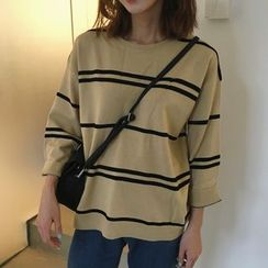MATO - Striped 3/4-Sleeve Knit Top