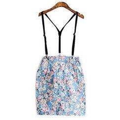 Brondegirl - Printed Suspender Skirt