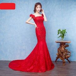 Caramelo - Off-shoulder Mermaid Evening Dress