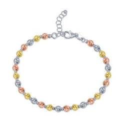 MaBelle - 18K Yellow, Rose And White Gold Diamond Cut Beads Bracelet (19cm)