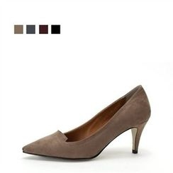 MODELSIS - Faux-Suede Pointy Pumps