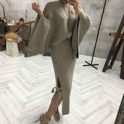 Shiga - Set: Oversized Sweater + Slit Side Knit Skirt