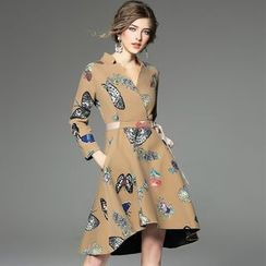 Ozipan - Tie-Waist Printed Coatdress