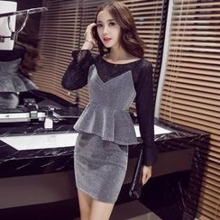 Clospace - Set: Long-Sleeve T-Shirt + V-Neck Peplum Top + Mini Skirt