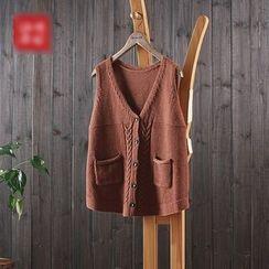 aerokiss - 麻花针织口袋马甲