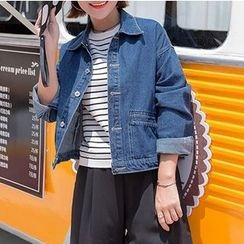 Naito - Buttoned Cropped Denim Jacket
