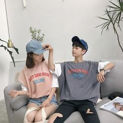 Simpair - Couple Matching Mock Two-piece Short-Sleeve T-shirt