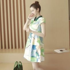Ashlee - Printed Short Sleeve A-Line Dress