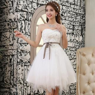 Luxury Style - Strapless Rhinestone A-Line Party Dress