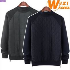 WIZIKOREA - Mock-Neck Quilted Sweatshirt
