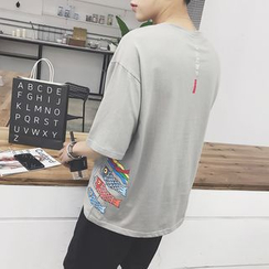 Besto - Fish Print Elbow-Sleeve T-Shirt
