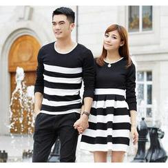 Porspor - Striped Long-Sleeve Couple Top / Dress